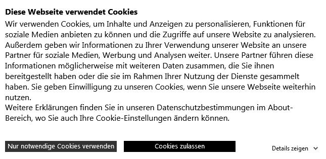 Cookie-Note - Die Marc Cain Webseite