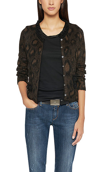 Knitted jacket with leopard pattern