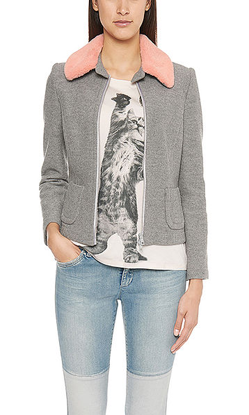 Jacket with fake-fur collar