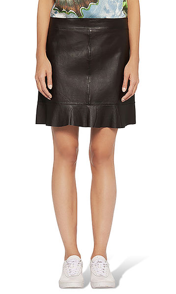 Leather skirt with flounce