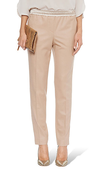 Flanellen pantalon met bandplooien