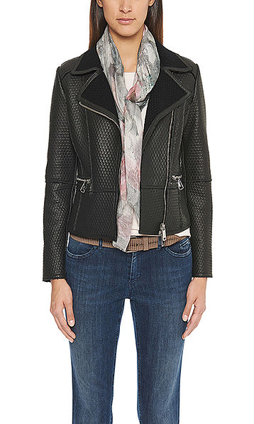 Leather jacket with distinctive texture