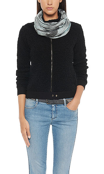 Box-cut knitted jacket in a bouclé look