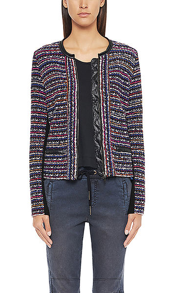Woven jacket in mixed materials