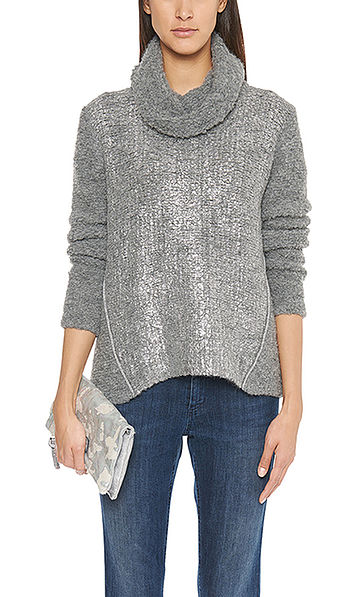 Pure new wool sweater with rolled neck