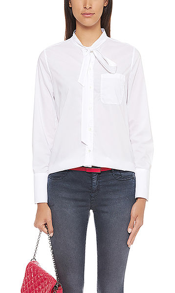Clean cut bow neck blouse in cotton