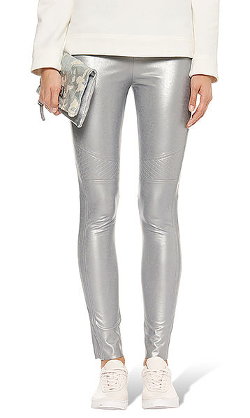 Coole space-legging in een nylontextuur