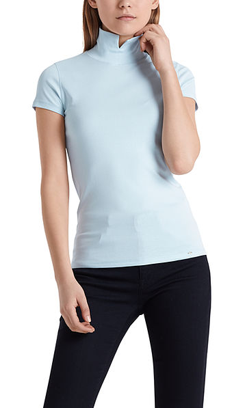 Cotton T-shirt with stand-up collar