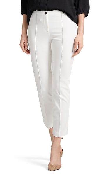 Stretch trousers with cord piping