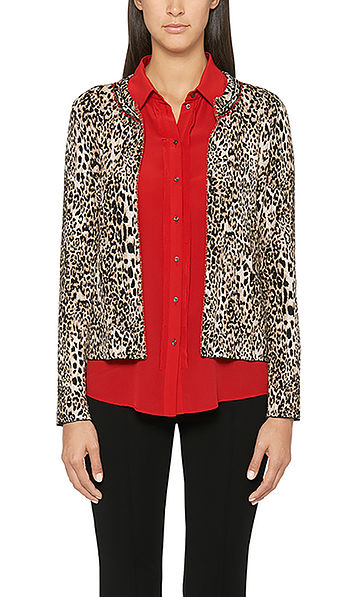 Jacket with leopard Jacquard