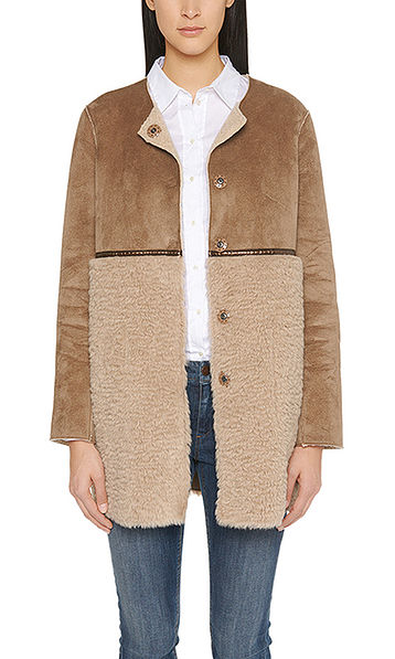 Reversible coat in faux lambskin