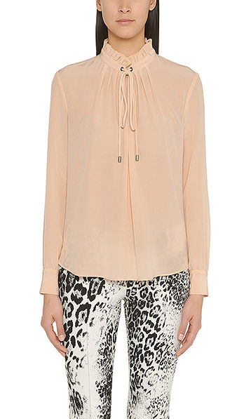 Silk blouse with ruched collar