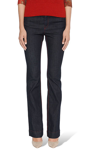 Flared jeans with contrasting seams