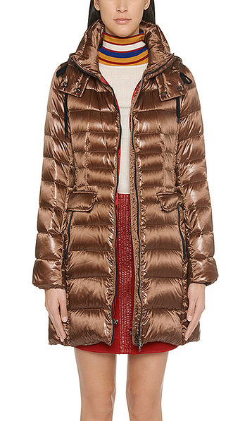 Down coat in shiny nylon