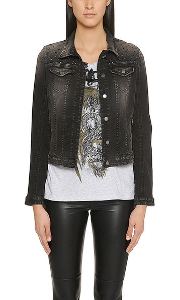 Denim jacket with rivets