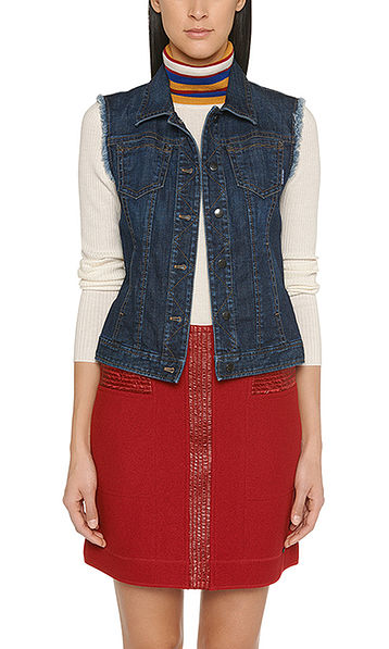 Gilet en denim bleu