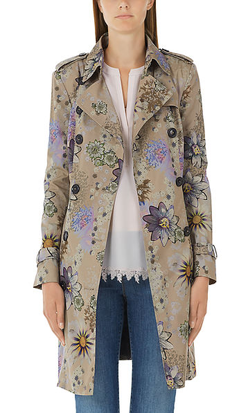 Trench coat with passion-flower print
