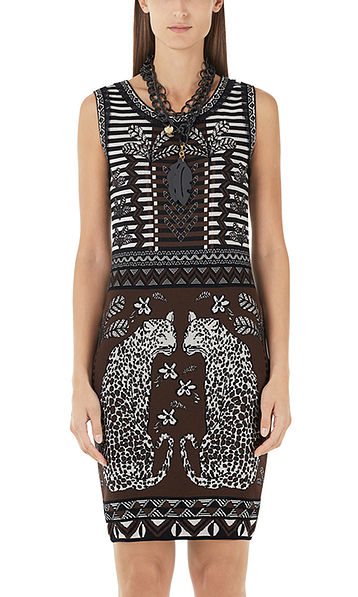 Jacquard dress with leopards