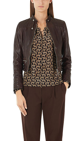 Leather biker-look jacket