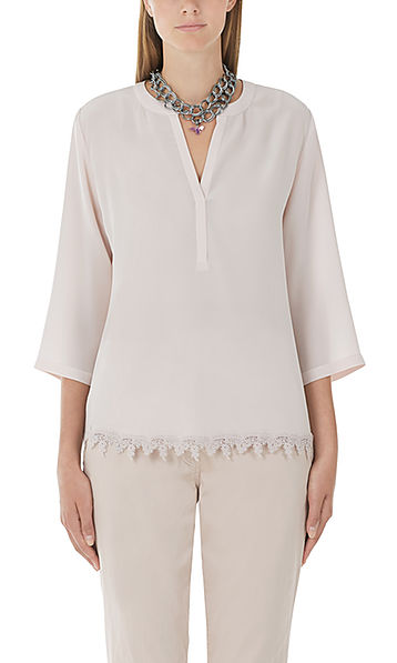 Silk blouse with lace