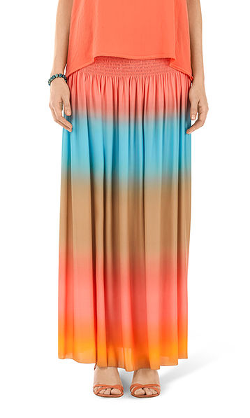 Bright silk skirt