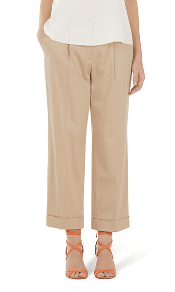 Pants in stretch cotton satin