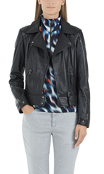Leather biker-look jacket