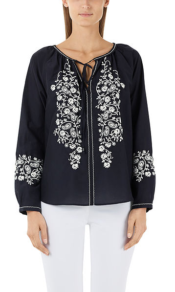 Embroidered blouse with silk