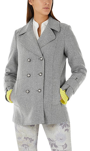 Pea coat with metal buttons