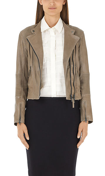 Leather jacket with stretch details