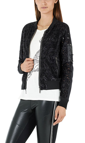 Blouson jacket in mixed materials