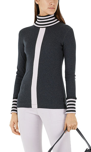 Jersey top with knitted details