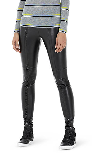Leggings with glossy stripes