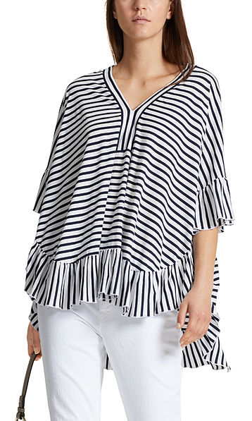Striped top with flounce