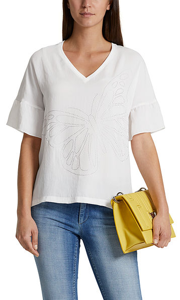 Blouse top in mixed materials