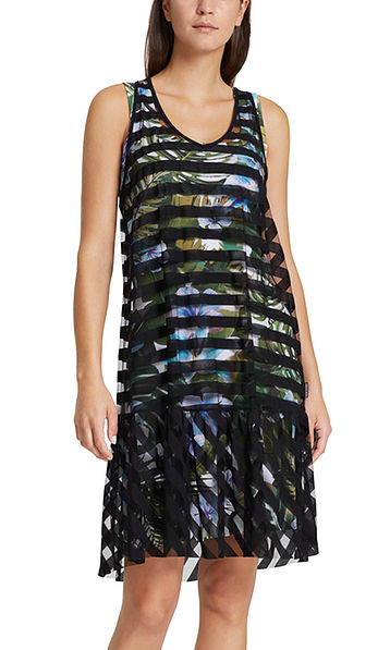 Dress with transparent stripes