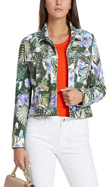 Jeans jacket with palm tree print