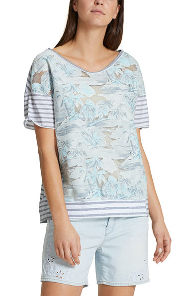 Blouse-style top with palm beach print