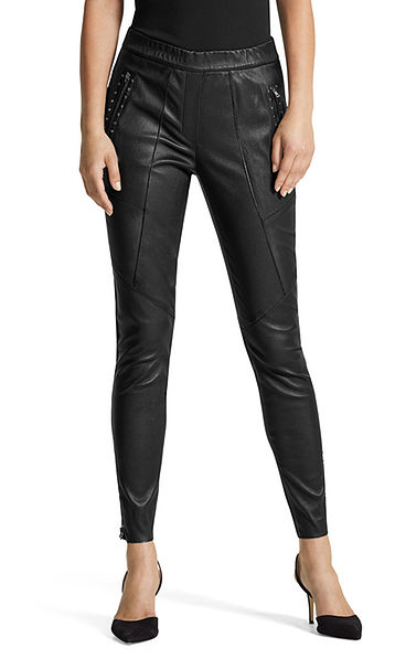 Stretchy leather pants with rivets