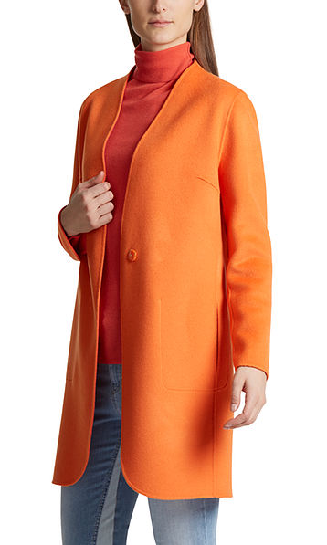 Reversible coat in wool and cashmere