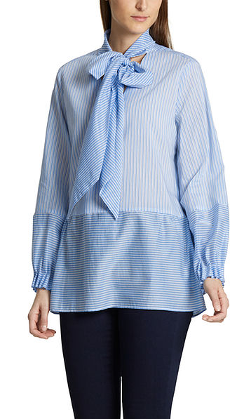 Bow neck blouse with silk