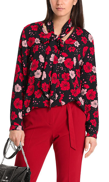 Printed bow neck blouse in crepe