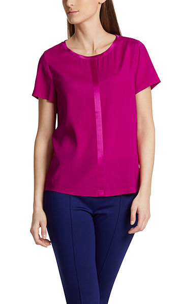 Blouse-style top in silk satin