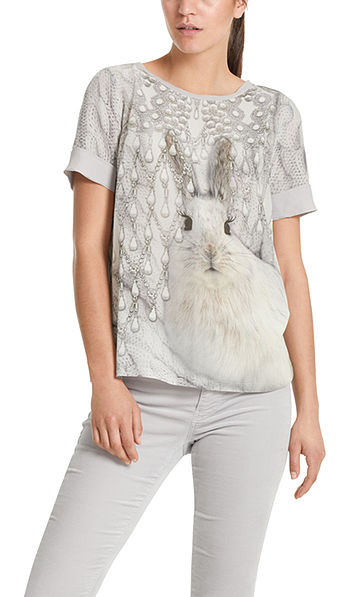 Blouse-style top with snow-hare print