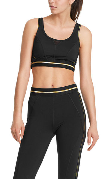 Fitwear bustier with gold stripes