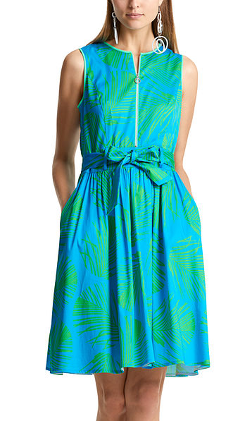 Kleid mit Palmblätter-Print
