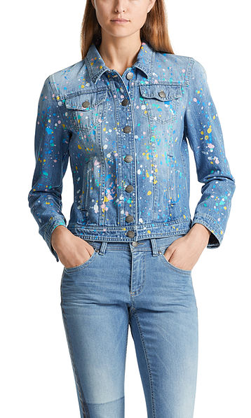 Jeans jacket with splashes of colour