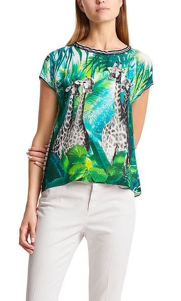 Blouse-style top with giraffe motif