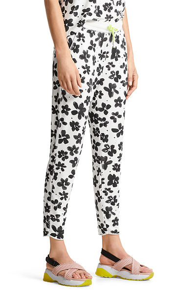 Floral jersey trousers in jogging style