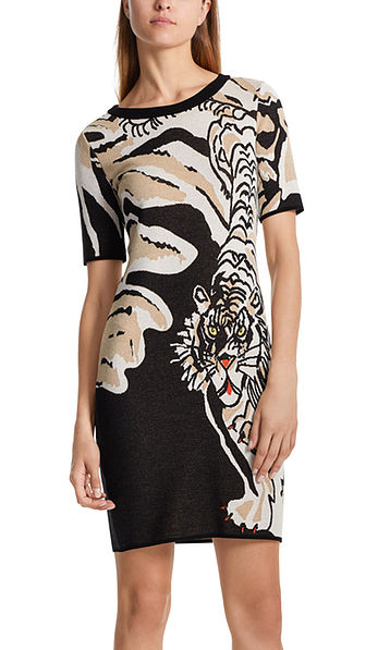 Jacquard dress with tiger